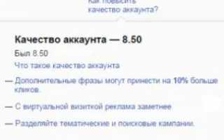 Как улучшить показатель качества аккаунта Яндекс.Директ?
