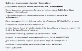 Реквизиты и контакты Совкомбанка
