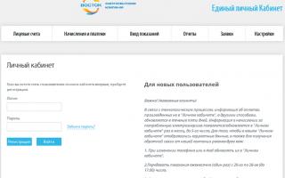Тюменьэнергосбыт (ЭК Восток) — личный кабинет, показания счетчиков