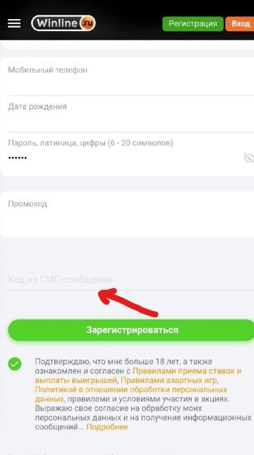 Регистрация с мобильного телефона в Винлайн - шаг №2
