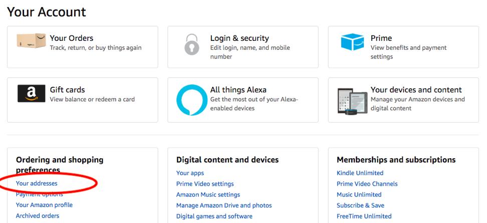 Как добавить адрес доставки на Amazon